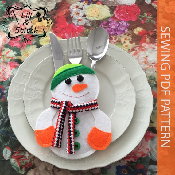 Pdf pattern snowman silverware holders christmas table for Art decoration pdf