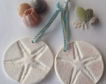 Glitter Starfish Ornaments with teal and white ribbon