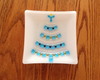 Fused glass Christmas cookie plate