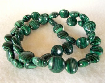 """6mm Disc-Shaped Natural Malachite Beads in a 15"""" Strand"""