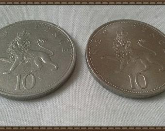Britain 1968 & 1971 - 10 new pence piece coins Queen Elizabeth 2