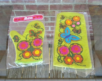 Vintage Deadstock NOS 70s Barth & Dreyfus Lime Green Felted Wool Oven Mitt and Blender Cover ~~ Mother's Day, Kitsch, Retro, Brady Bunch,