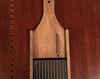 Vintage Primitive wood food slicer shredder mandoline