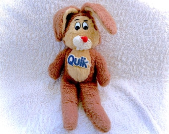 RARE Old 70's Vintage Quik Nesquik Cereal Brown Bunny Rabbit Plush Plushie Stuffed Animal Toy SCARCE 80's Htf Vtg Retro