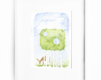 ORIGINAL WATERCOLOR painting, illustration, wall decor, trees, deer grazing, intrigue mystery whimsy - Amongst the trees no. 2