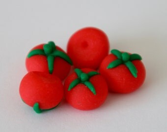 Miniature Tomatoes - Polymer Clay Dollhouse Food, set of 5 tomatoes