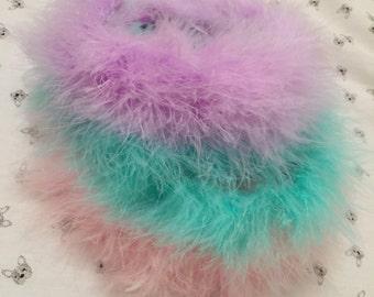 Fluffy feather headband beautiful 90s flower crown