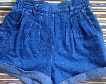 Blue High Rise Shorts