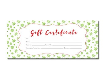 Winter, Snowflakes,Green,Holiday,Christmas Gift Certificate,Download,Printable,Premade,Gift Certificate,gift certificate template