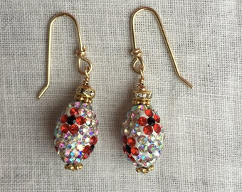 Red and White Crystal Earrings
