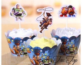 12/set Toy Story Toppers + Wrappers. Woody, Buzz Lightyear Tableware Party Decorations