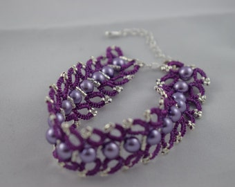 Purple lace bracelet purple with silver and purple beads