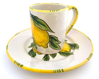 Coffee mug and plate set Sorrento design : Lovely Sorrento