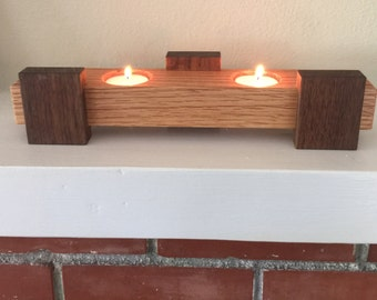 Solid Red Oak and Walnut Wood Tea Light Candle Holder