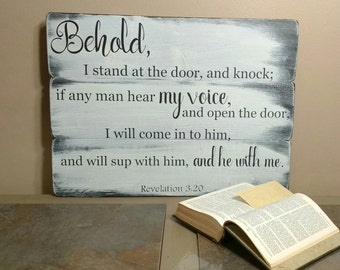 Christian Wall Art - Revelation - Scripture Art - Bible Verse Wood Sign - Behold I Stand at the Door and Knock - Religious Gifts