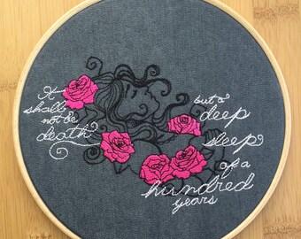 Sleeping Beauty - pink roses - dark fairytale - embroidery hoop art - princess Aurora