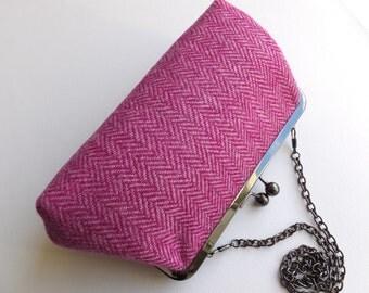 Pink Harris tweed purse/clutch. Tweed clutch bag.