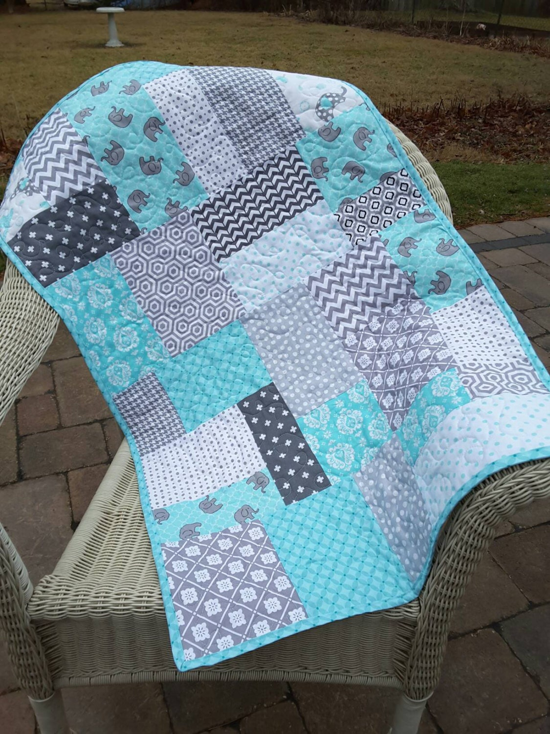 Baby Quilt Gray And Aqua Teal Baby Elephants Ready To