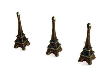 Eiffel Tower, Paris charms for necklcae, accessoris bronze jewelry and decorations, vintage, bracelet charm hanging Tower, Set 10 pieces