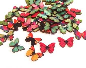 Buttons wood Butterfly colors sewing scrapbooking clothing accessories, buttons of wooden painted hand 28 * 21 mm Pack custom