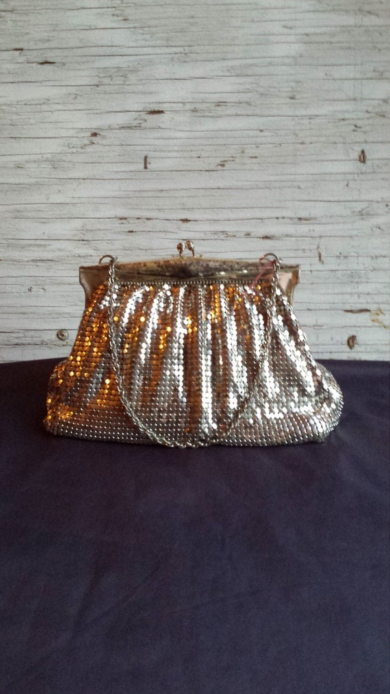 Vintage 1930's Whiting and Davis Silver Mesh Evening Handbag