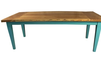 Reclaimed Heart Pine Farm Table, Hand Crafted, Fast Shipping