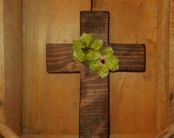 Rustic Wooden Cross, Dark Wooden Cross, Wood cross, Wood Wall Cross, Religious Wall Art, Burlap Flower, Rustic Brown, Handmade Wall Cross