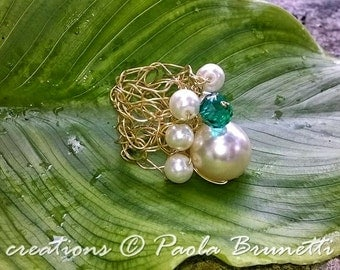 Wire crochet ring with pearls
