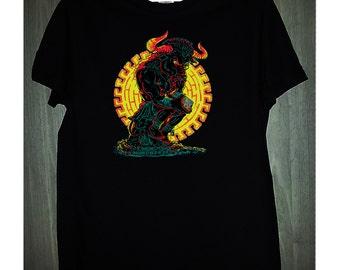 minotaur shirt rubics cube shirt mystical creature black and white, men's and women's gift birthday present