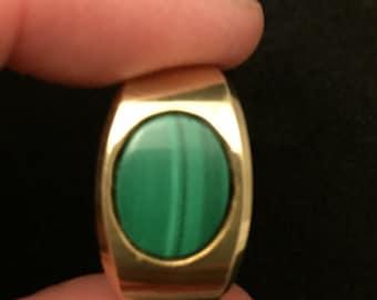 14K Yellow gold malachite ring, Size 6.5