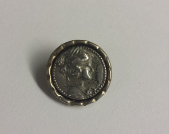 Antique Sterling Silver .925 Cameo Pin Brooch