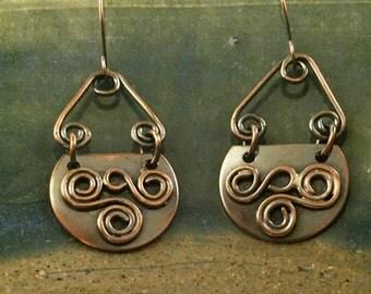 """Copper """"Feelin' Swirly"""" Earrings"""