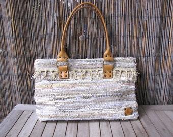 Handmade Tote Rag Bag / Bag / Hand Stitched Leather Bag / Tote bag / Handmade Bag / Large Bag / Rag Bag
