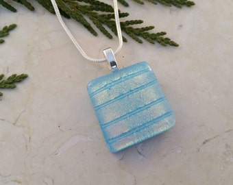 Fused Glass Pendant, Turquoise Glass with Dichroic Accents 16128