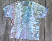 Hand-Dyed T-Shirt - Mens Womens Size X-Large - Brown, Green and Blue - Rippling Reflection - Hippie Boho Tie-Dye