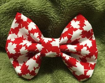 Canadian patriotic hair bow