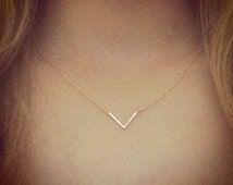 "Gold V Necklace - 18"" chain Thin Tiny Simple"