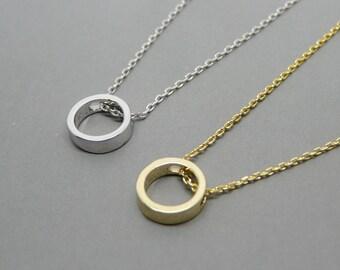 Circle necklace, Karma necklace, Gold circle necklace, Minimalist necklace, Layering necklace, Tiny gold pendant, Gold necklace