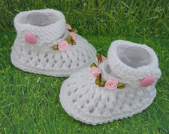 Baby Baptism Christening baby booties, Accessories for dresses Special day or celebration Baptism shoes,christening shoes,fancy white shoes