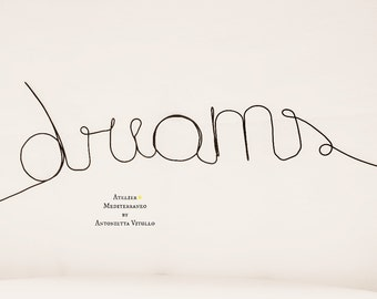 "Wire Word ""dreams"" Wall Hanging Art"