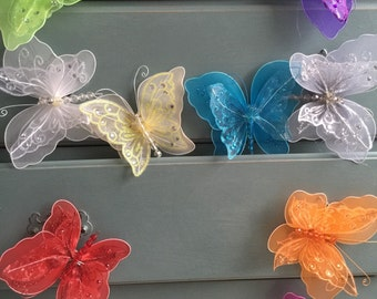 "6"" inch in Butterfly Wall Hanging Girls Room Baby Nursery Nylon Butterflies"