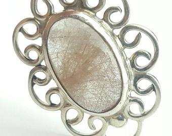 Vintage Taxco Rutile Quartz Sterling Silver Pendant