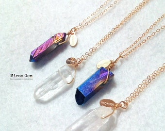 quartz with charm necklace