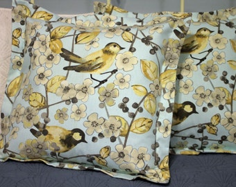 Blue and Yellow Birds pillow cover 18 X 18 with flange - 2 in stock