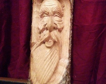 Hand Carved Fair trade Vintage hanging Wooden Pagan wall Art / greenman Wicca