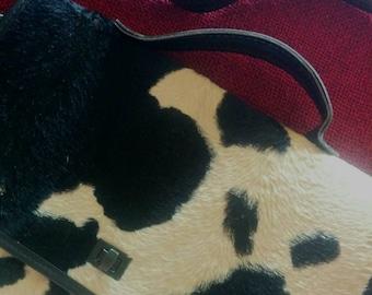 Vintage cowhide/skin leather handbag. Cow print black and white