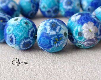 lot of 6 tones textured beads blue, turquoise, sky blue