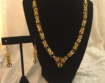 Byzantine Chainmail Necklace and Earring set