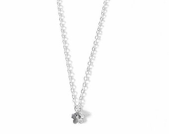 Silver Dainty Daisy Flower Charm Necklace