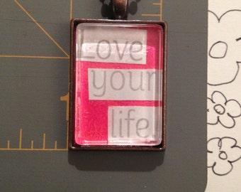 Handmade Pendant, Handmade Love Quote Pendant, Handmade Jewelry, Necklaces